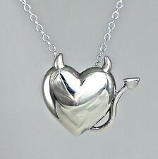 Devil Heart Tail Necklace ~ 925 Sterling Silver Love Faith Jewelry NEW