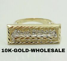 NEW 10K YELLOW GOLD TWO TONE LAST SUPPER HIP HOP STYLE RING MENS & LADIES 3293