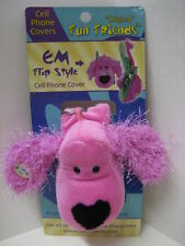 """""""EM"""" Pink Fuzzy Ear Dog Fun Friends Plush Flip-style Cell Phone Cover NEW"""