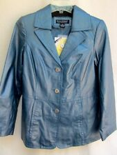 QVC..DIALOGUE..BLUE GRAY..GENUINE LEATHER..CLASSIC..JACKET..NEW w TAGS..sz S/M