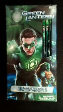 14 Green Lantern Paper Valentine Day Cards & pencils Box  damage