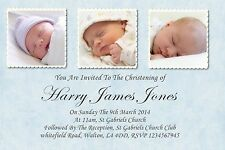 50 personalised Boys Christening Day  Invitations With Envelopes Posted 1stclass