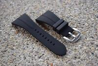 Silicone Watch Strap Bands Waterproof Stainless Buckle Black Color Width 36 mm.