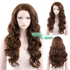 "24"" Long Medium Brown Curly Wavy Lace Front Wig Heat Resistant"