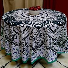 """Handmade 100% Cotton Blooming Floral 81"""" Round Tablecloth Green Blue"""