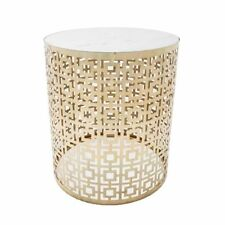 Polished antique gold stool lamp table side table white marble lamp table top