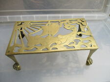 Antique Brass Trivet Cake Iron Planter Stand Holder Vintage Old Viking Ship Claw