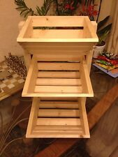 Compact 3 Tier Wooden Fruit and Veg Vegetable Rack In Natural  H:500mm Storage