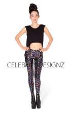 Celebrity Fashion Trendy Jacquard Foil Velvet Metallic Neon Mermaid Leggings