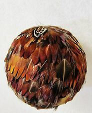 6 HANDMADE NATURAL GUINEA FEATHER BALL HANGING ORNAMENT CHRISTMAS HOME WEDDING