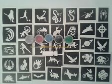 Boys 20 tattoo stencil set  glitter tattoos + 5 glitter colours children