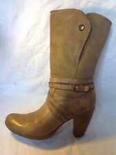 Josef Seibel Beige Mid Calf Leather Boots Size 40