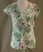 St. John's Bay Petite, PS, Garden Florals Knit Top, New with Tags