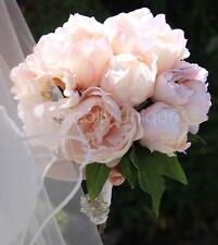 NEW WEDDING BRIDAL PINK CREAM PEONY BOUQUET WITH BROOCH ARTIFICIAL SILK FLOWERS