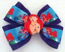 """Girls Hair Bow 4"""" Wide Ariel Little Mermaid Purple Grosgrain French Barrette"""