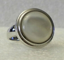 Sterling Silver 14mm Round Mother-of-Pearl Ring Sz 7