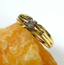 Toller Ring 55 (17,5 mm Ø) 585/14k Gold Brillant 0,06ct Diamant - Solitaire