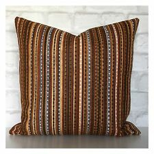 "Genuine Vintage 70s Brown Stripey Fabric Cushion Cover 16"" x 16"""