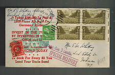1945 USA Patriotic Cover CAmp Ritchie MD Special Delivery Postage Due War Bonds