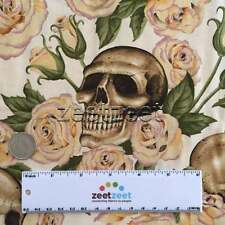 Alexander Henry RESTING IN ROSES Natural SKULLS Tattoo Quilt Fabric /Yard skull