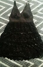 Genuine GUESS Black Evening Lace Sequin Tiered Scollaped V Neck Dress Size 9