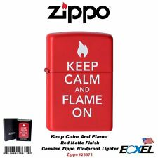 Zippo #28671 Keep Calm And Flame On Red Matte Lighter_Classic_Windproof