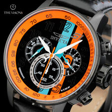Invicta Men's 48mm S1 Rally Chronograph Orange & Blue Stripe Leather Strap Watch