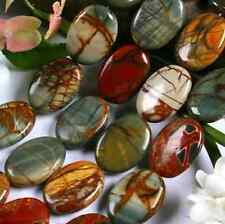 NATURAL 13X18MM MULTI-COLORED PICASSO JASPER GEMSTONE OVAL LOOSE BEAD STRAND 15""