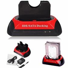 "Dual Slot 2.5"" 3.5"" USB IDE SATA HDD Hard Drive Disk Dock Holder Docking Station"