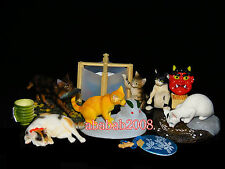 Yujin the Cat Japan Kitten eating & drinking Figure ( full set of six figures)