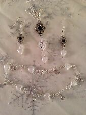 "Sterling Silver Chain22""+bracelet&925earings&fancy Ball/heart/flower Set /boxed."