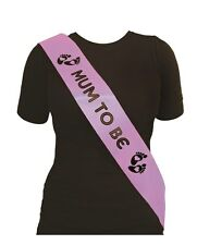 Mum To Be Baby Shower Sash in Lilac & Black Great Party Fun For Mum To Be
