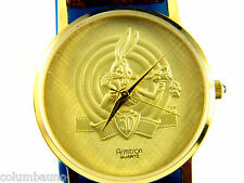 BUGS BUNNY  HAPPY BIRTHDAY WATCH//NEW BATTERY/LEATHER BAND /GOLD TONE