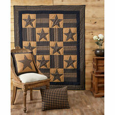 """TETON STAR Quilted Throw Navy/Khaki Country Primitive 50""""x 60"""" Rustic Patchwork"""