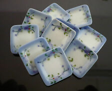 10 Square Plate Hand Painted Purple Orchid Dollhouse Miniatures Food Deco