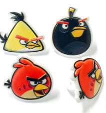 12 Angry Birds Cupcake Rings Toppers Boys Birthday Movie Party Favor Decoration