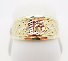 Girls 10k Tri Tone Gold Sweet 15 Ring 15 Anos Ring