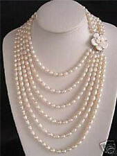 NOBLEST 6 ROW SALT WATER PEARL SHELL FLOWER NECKLACE