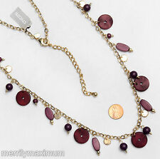 Chico's Signed Necklace Long Gold Tone ChainPurple Wood Beads Accents NWT