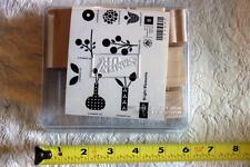 "STAMPIN' UP! ""Bright Blossoms"" Wood Unmounted rubber stamp Set of 8 NEW"