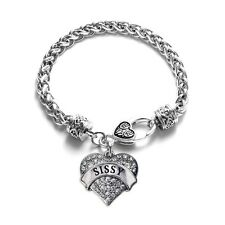 Inspired Silver Sissy Pave Heart Charm Bracelet