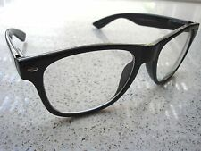 Wayfarer clear lens 1950s style glasses 100% UV rockabilly Buddy Holly black