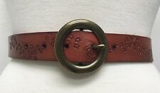 Anthropologie Brown Embossed Star Leather Belt Brass Buckle Size S M