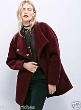 NEW Free People Coat eggplant  Boiled Wool heavy oversized funnel neck M $298