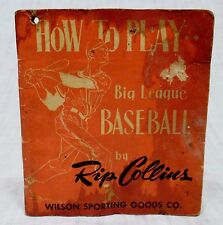 Vintage How to Play Baseball Booklet by Rip Collins Wilson Sporting Goods