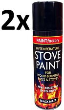2x Heat Resistant Matt Black Spray Paint Stove High Temperature 200ML Offer