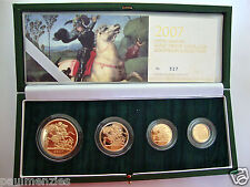 2007 GOLD PROOF FOUR COIN SET £5 £2 SOVEREIGN 1/2 HALF SOVEREIGN
