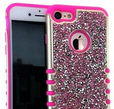 For iPhone 7 (4.7 inch) - HYBRID HARD & SOFT ARMOR CASE PINK DIAMOND BLING STUDS