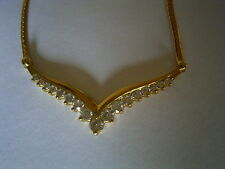 Stunning 18ct Yellow Gold 1 carat Diamond Wishbone Necklace
