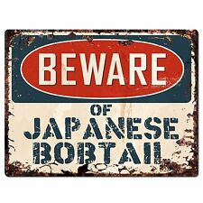 Pp1568 Beware of Japanese Bobtail Plate Rustic Chic Sign Home Store Decor Gift
